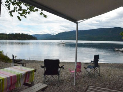 Waterfront sites offer great views at Birch Bay Resort on Francois Lake, BC