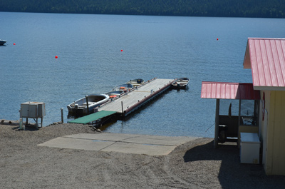 Concrete boat launch  at Birch Bay Resort on Francois Lake, BC