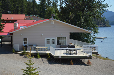 Side view of banquet hall at Birch Bay Resort on Francois Lake, BC