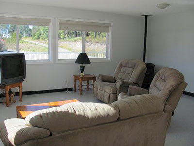 Living room of Gatehouse at Birch Bay Resort on Francois Lake, BC