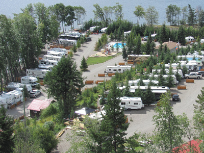 Aerial view of campsites at Birch Bay Resort on Francois Lake, BC