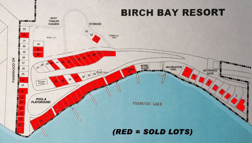 Site Plan - Birch Bay Resort on Francois Lake, BC